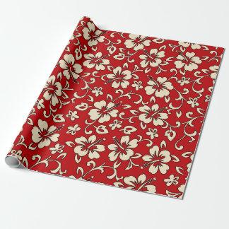 Malia Hibiscus Hawaiian Pareau Print Wrapping Paper