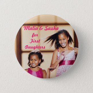 Malia & Sasha Obama for First Daughters Pinback Button