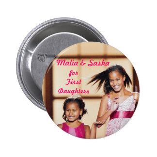 Malia & Sasha Obama for First Daughters Pinback Button