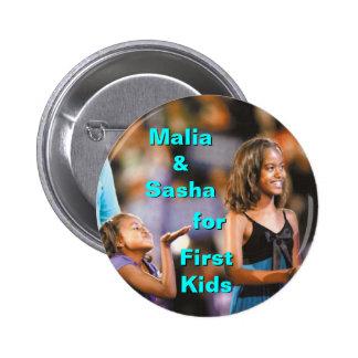 Malia y Sasha Obama para el primer botón de los ni Pins