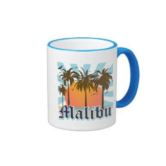 Malibu Beach California CA Ringer Coffee Mug