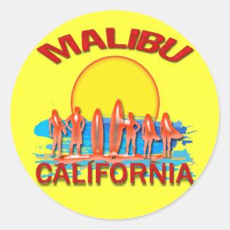 MALIBU BEACH CALIFORNIA CLASSIC ROUND STICKER