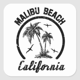 Malibu Beach Square Sticker