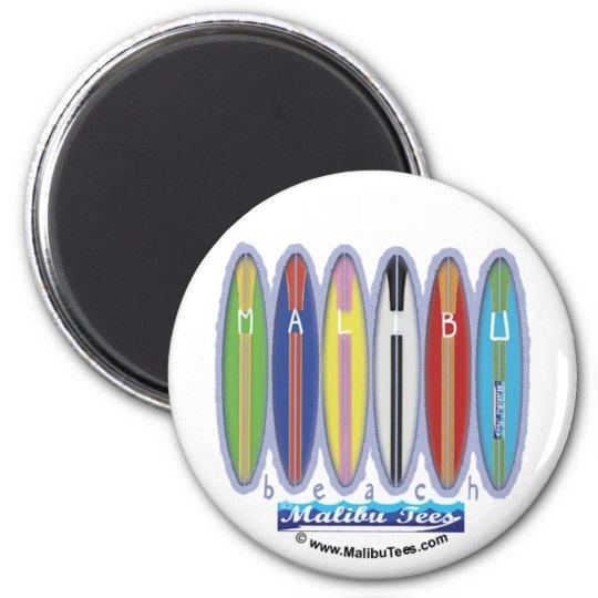 Malibu Beach Surfboards 2 Inch Round Magnet