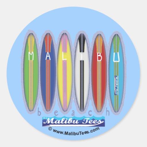 Malibu Beach Surfboards Round Sticker