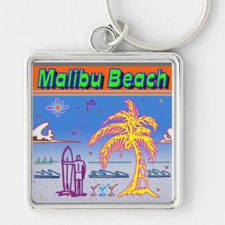 """Malibu Beach"" Surfer Keychain"