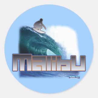 Malibu Beach Surfing Classic Round Sticker