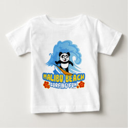 Baby Fine Jersey T-Shirt with Malibu Beach Surfing Panda design