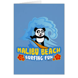 Greeting Card with Malibu Beach Surfing Panda design