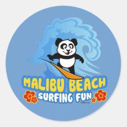 Round Sticker with Malibu Beach Surfing Panda design