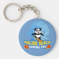 Basic Button Keychain with Malibu Beach Surfing Panda design