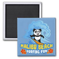 Square Magnet with Malibu Beach Surfing Panda design