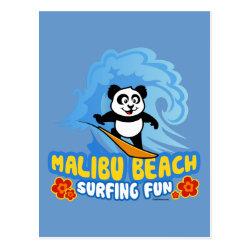 Postcard with Malibu Beach Surfing Panda design