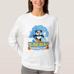 Women's Basic Long Sleeve T-Shirt with Malibu Beach Surfing Panda design
