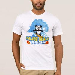Men's Basic American Apparel T-Shirt with Malibu Beach Surfing Panda design