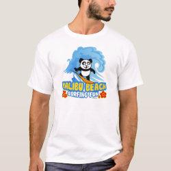 Men's Basic T-Shirt with Malibu Beach Surfing Panda design