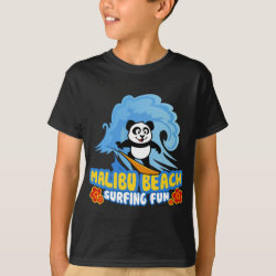 Kids' Hanes TAGLESS® T-Shirt with Malibu Beach Surfing Panda design