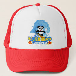 Trucker Hat with Malibu Beach Surfing Panda design