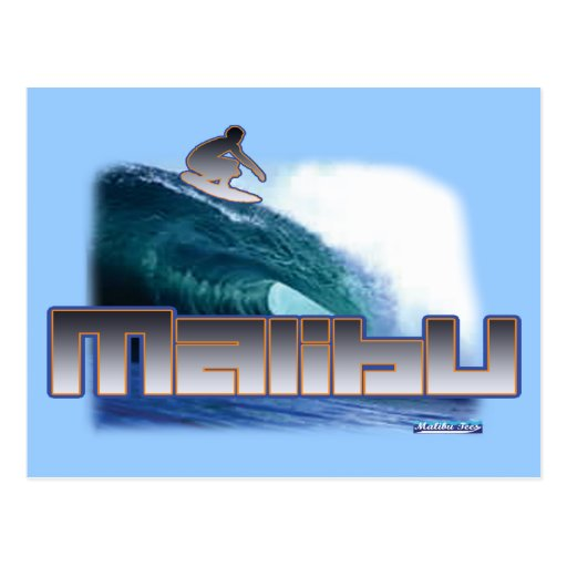 Malibu Beach Surfing Postcard