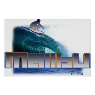 Malibu Beach Surfing Poster