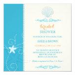 "Malibu Blue Ivory Beach Bridal Shower Invitations 5.25"" Square Invitation Card"