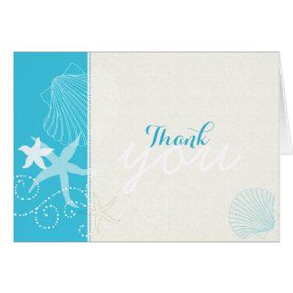 Malibu Blue + Ivory Beach Wedding Thank You Stationery Note Card