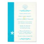 "Malibu Blue + Ivory Hip Beach Wedding Invitations 5"" X 7"" Invitation Card"