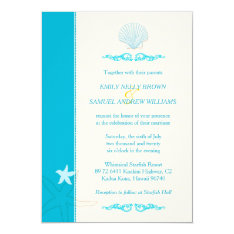 "Malibu Blue + Ivory Hip Beach Wedding Invitations 5"" X 7"" Invitation Card at Zazzle"