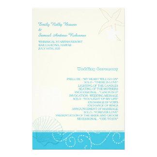 Malibu Blue + Ivory Modern Beach Wedding Programs