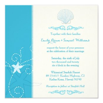 Malibu Blue Sea Shell Beach Wedding Invitations