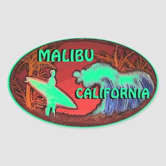 Malibu California green surfer waves art stickers