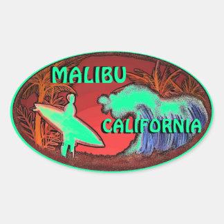 Malibu California green surfer waves art stickers