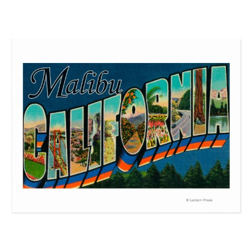 Malibu, California - Large Letter Scenes Postcard