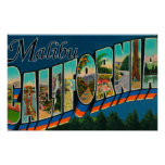 Malibu, California - Large Letter Scenes Poster