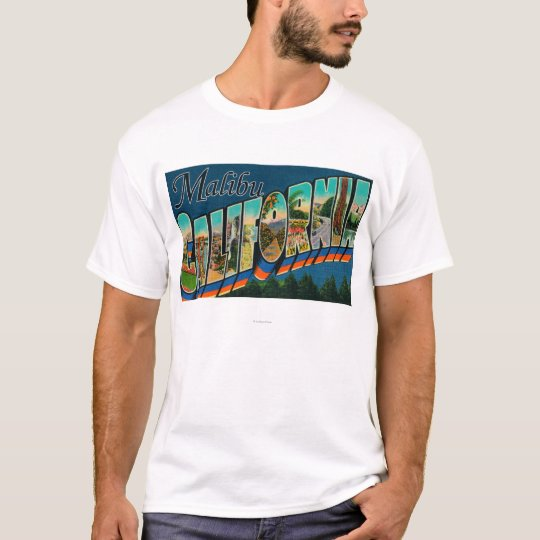Malibu, California - Large Letter Scenes T-Shirt