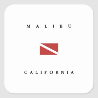 Malibu California Scuba Dive Flag Square Sticker
