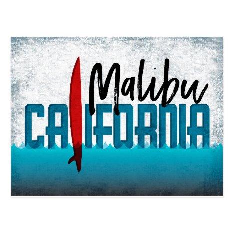 Malibu California Surfboard Surfing Postcard