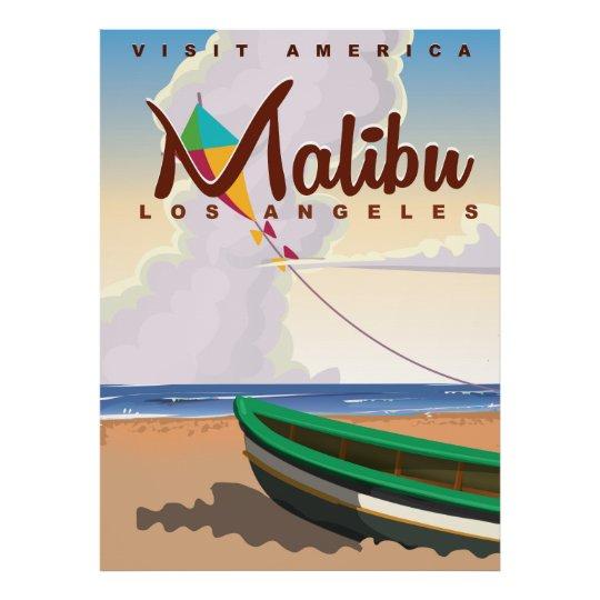 Malibu California Vintage Travel Poster Zazzle Com