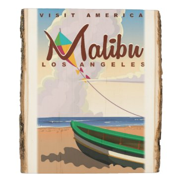 Beach Themed Malibu California Vintage Travel Poster Wood Panel
