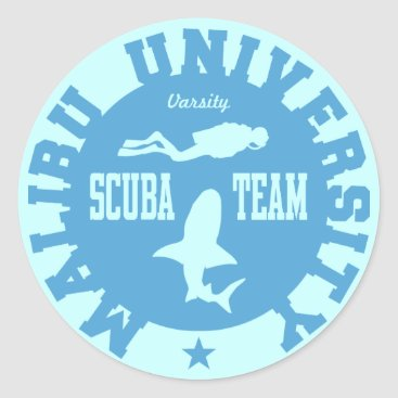 Beach Themed Malibu Scuba Classic Round Sticker