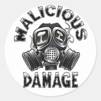 MALICIOUS DAMAGE GASMASK STICKER