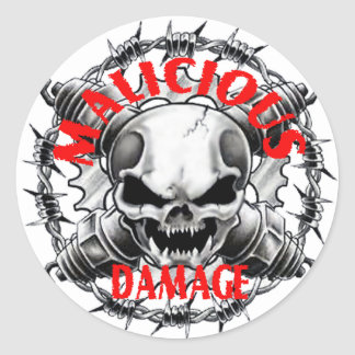 MALICIOUS DAMAGE SKULL STICKER