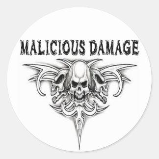 MALICIOUS DAMAGE STICKER