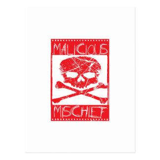 MALICIOUS MISCHIEF -SKULL&BONES POSTCARD