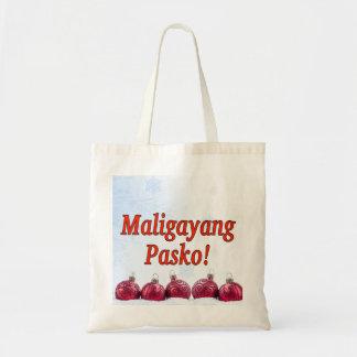 ¡Maligayang Pasko! Felices Navidad en tagalogo rf Bolsa Tela Barata