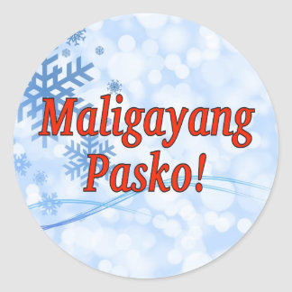 Maligayang Pasko! Merry Christmas in Tagalog rf Classic Round Sticker