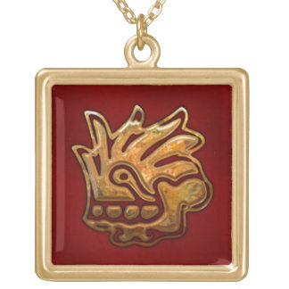 Malinalli AZTEC Red & Gold Gold Plated Necklace