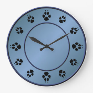 Malinois Dog Paws in Slate Blue Clock
