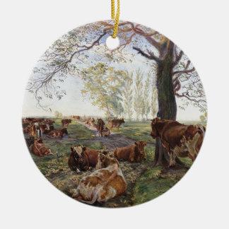 Malkeplads ved Dyrehavegård by Theodor Philipsen Double-Sided Ceramic Round Christmas Ornament