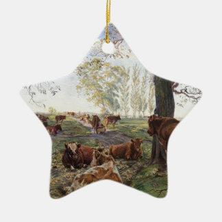 Malkeplads ved Dyrehavegård by Theodor Philipsen Double-Sided Star Ceramic Christmas Ornament